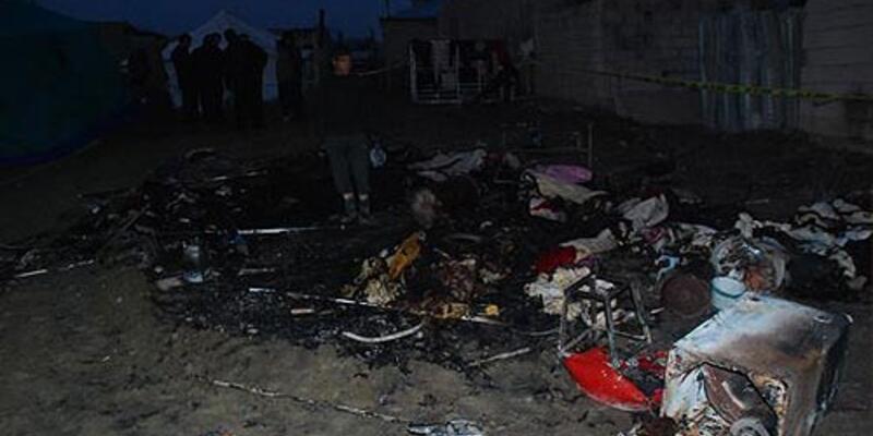 Suriyelilerin kaldığı çadırda yangın