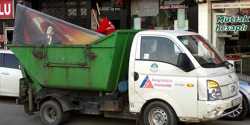 Çöp kamyonetinde Atatürk tablosuna tepki
