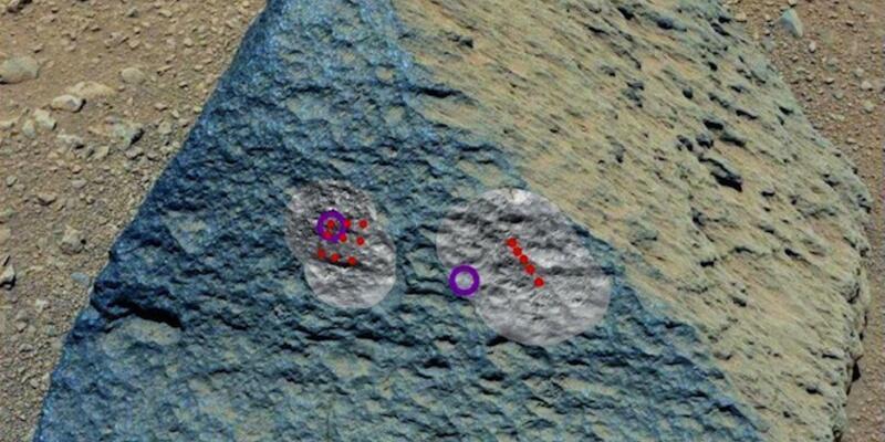 Curiosity'nin vurduğu kaya bir garip!