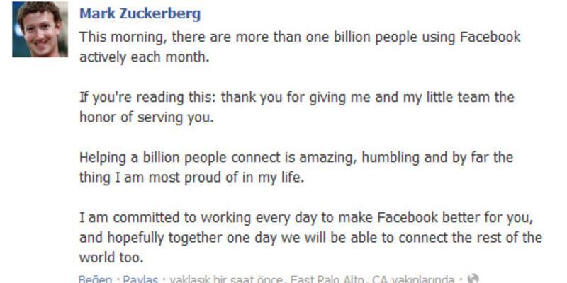 1 milyar Facebook'lu