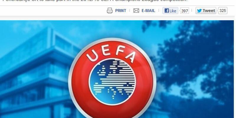 UEFA'dan Fenerbahçe'ye resmi onay