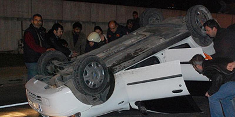 Kazayı seyrederken 5 metre aşağıya düştü!