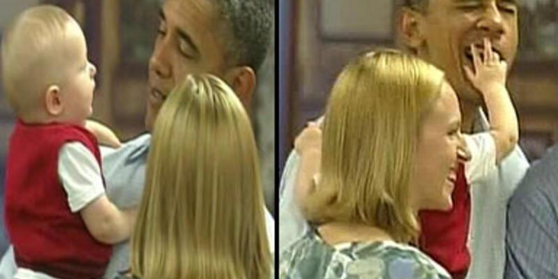 Bebek, Barack Obama'nın burnunu görünce...