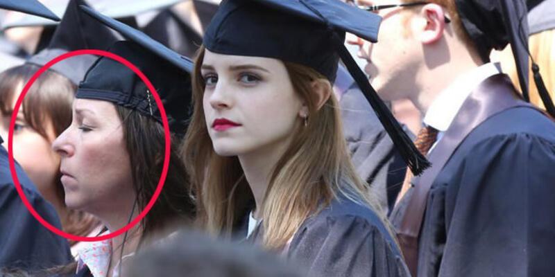 Emma Watson'un mezuniyet törenindeki kılık değiştirmiş kadın!