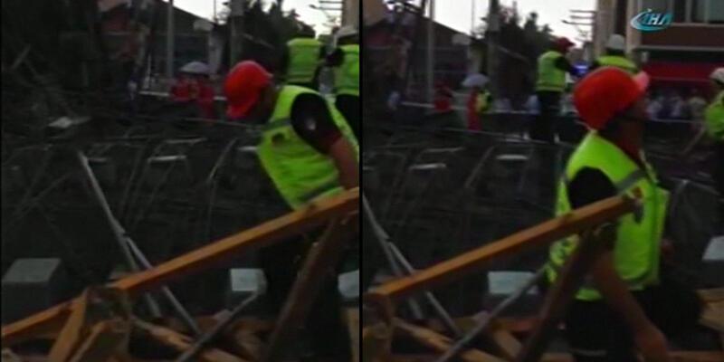Yüksek Hızlı Tren inşaatında istasyon binası çöktü