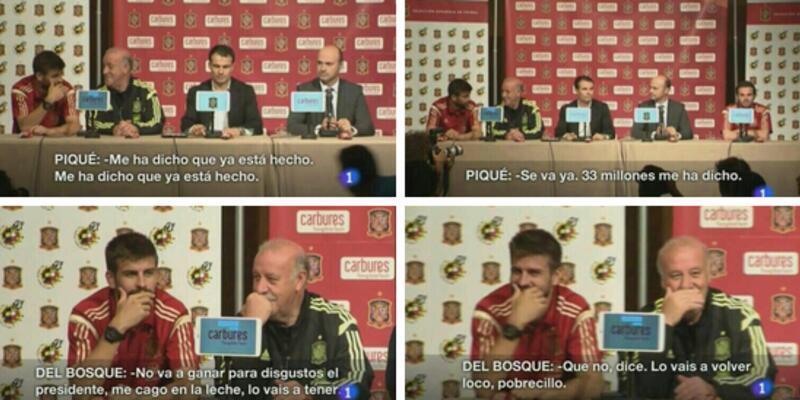 Pique, Del Bosque'ye anlatırken yakalandı!
