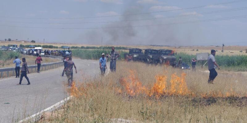 Viranşehir'de yol kapatan protestoculara müdahale