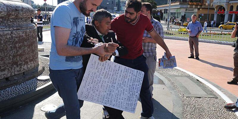 Taksim'de tek kişilik eyleme gözaltı