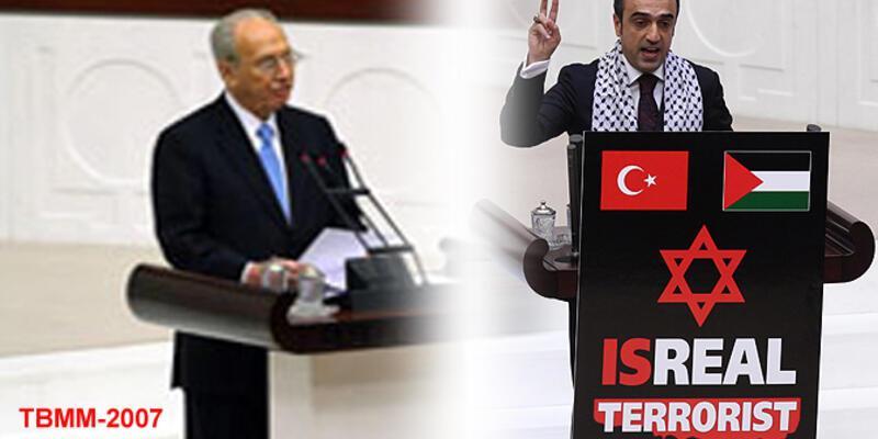"TBMM kürsüsüne ""Terörist İsrail"" yazılı pankart astı"