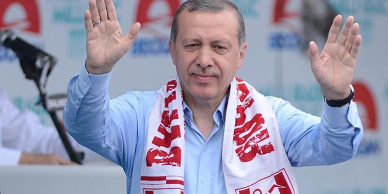 Erdoğan'dan mitinge 5 dakika ara