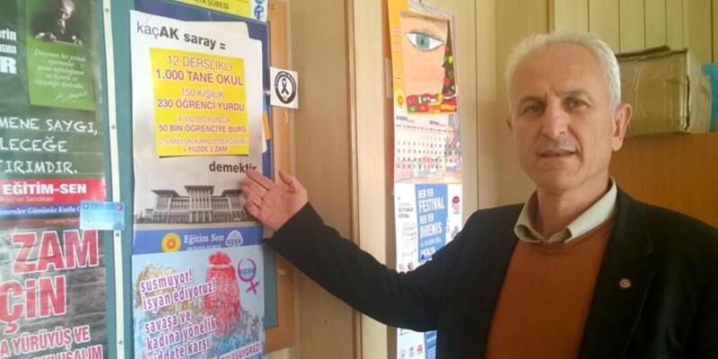 """Sendikanın """"Kaçak Saray"""" afişlerine toplatma yazısı"""