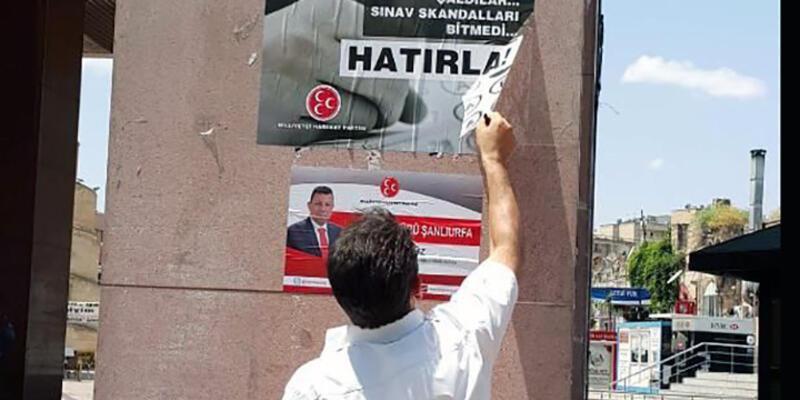 Erdoğan'ın gelişinden önce MHP afişleri söküldü