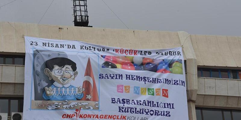 "Karikatürlü pankart nedeniyle CHP'li başkana ""Başbakana hakaretten"" dava"