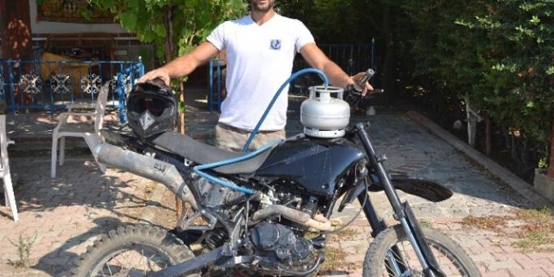 Piknik tüpünü motosikletine yakıt olarak taktı