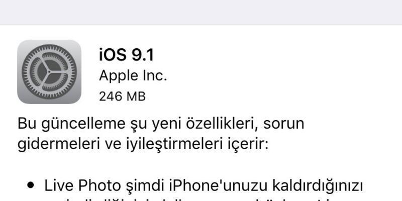 iOS 9.1 güncellemesi yayınlandı