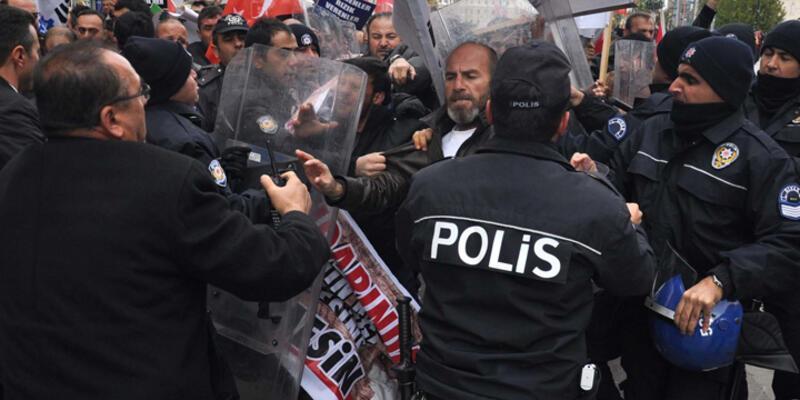Sivas'ta protestocu işçilerle polis arasında arbede