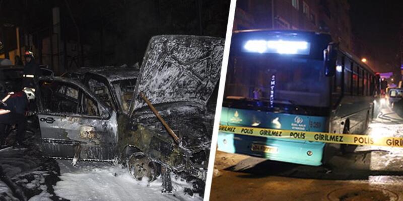 İstanbul'da 15 araç kundaklandı, bir otobüse molotof kokteyli atıldı