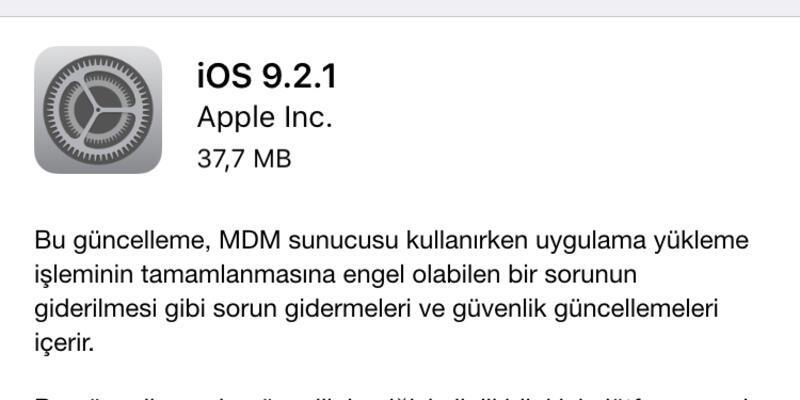 iOS 9.2.1 güncellemesi çıktı!