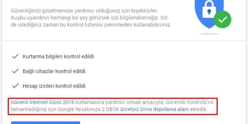 Google Drive'dan 2 GB ücretsiz alan