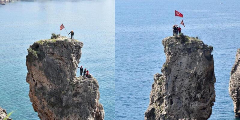 Papaz Kayalığı'nda bayrak operasyonu