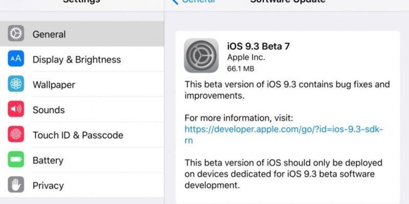 iOS 9.3 Beta 7 geliştiriciler için çıktı!