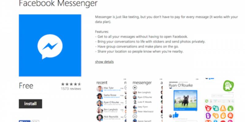 Facebook Messenger Windows 10 uygulaması