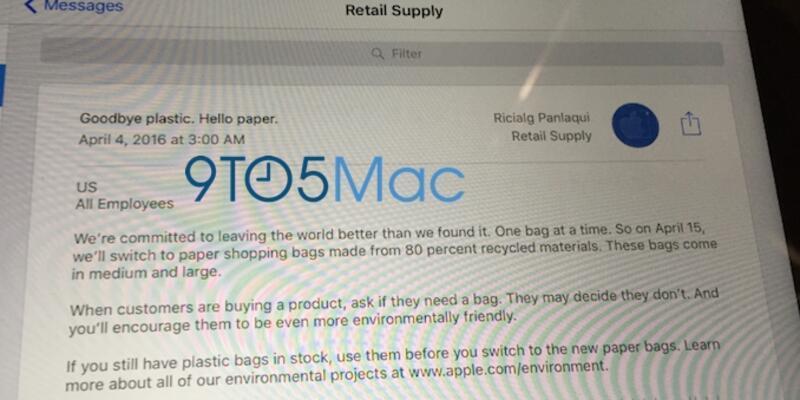 Apple Store'larda plastik poşet kullanımına son