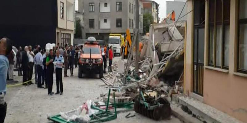 Lapseki'de 5 katlı bina çöktü