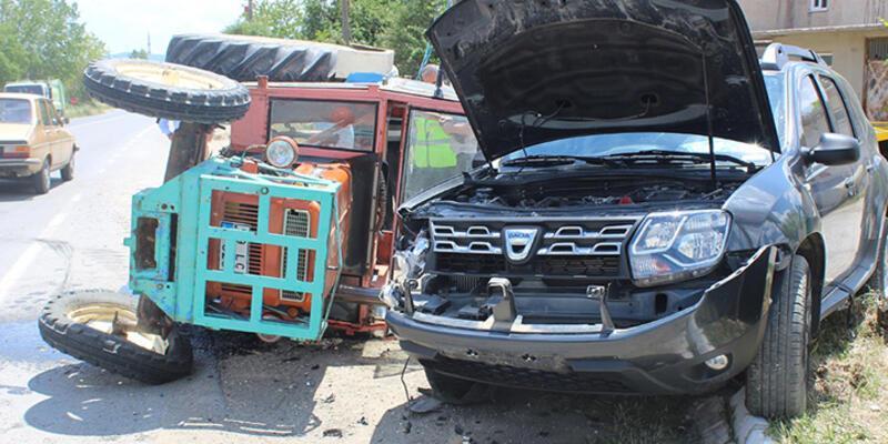 Malkara'da ciple traktör çarpıştı