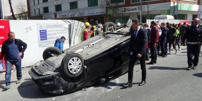Şişli'de akılalmaz kaza! Takla atıp yayaya çarptı