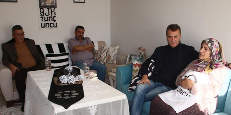 Beşiktaş Başkanı Fikret Orman şehit olan Tunç Uncu'nun ailesini ziyaret etti