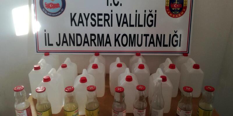 Develi ilçesinde bir  işyerinde 45 litre saf alkol ele geçirildi