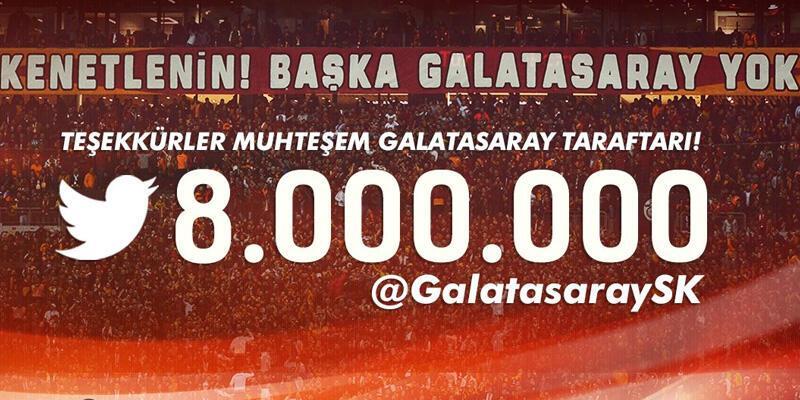 Galatasaray 8 milyon takipçiye ulaştı