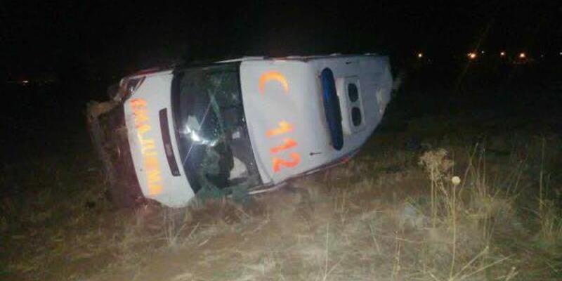 Domuz sürüsüne çarpan ambulans devrildi: 3 yaralı