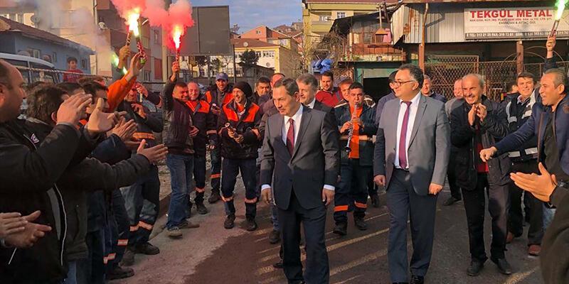 Zonguldak'ta kadroya alınan taşeron işçiler kutlama yaptı