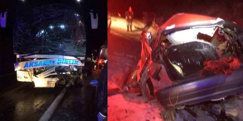 Yolcu otobüsüyle otomobil çarpıştı: 3 ölü, 16 yaralı
