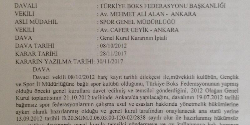 Boks Federasyonu'nun 2012 Olağan Genel Kurulu mahkeme tarafından iptal edildi