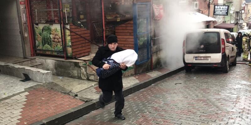 Şişli'de yangın: Bebeğiyle dumanların arasından çıktı