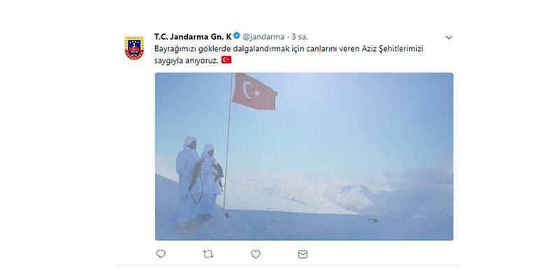 Jandarma hesabından 'Bayrak Şiiri' paylaşımı