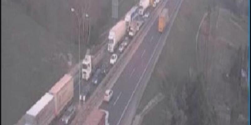 TEM'de kaza trafiği durdurdu
