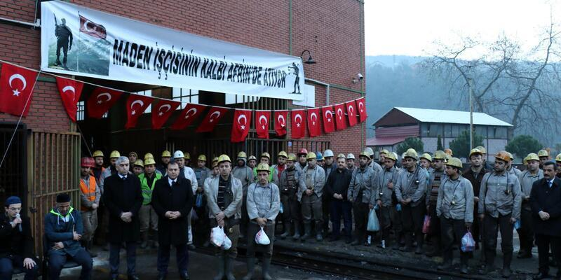 Maden işçileri Mehmetçik için dua etti
