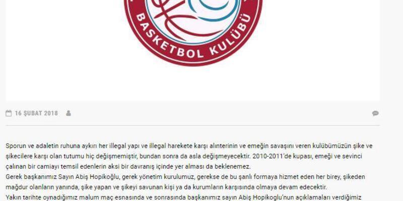 Trabzonspor Basketbol takımından 'şike' açıklaması
