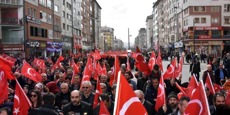 Sivas'ta 10 bin kişi, 'Zeytin Dalı Harekâtı'na destek için yürüdü