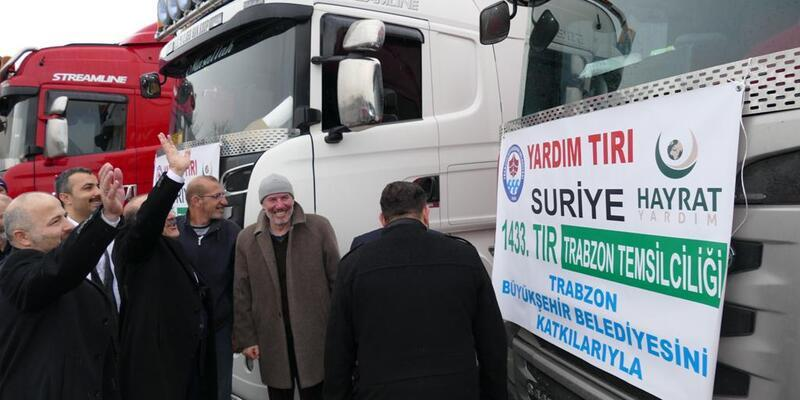 Trabzon'dan Afrin halkına 3 TIR  yardım malzemesi