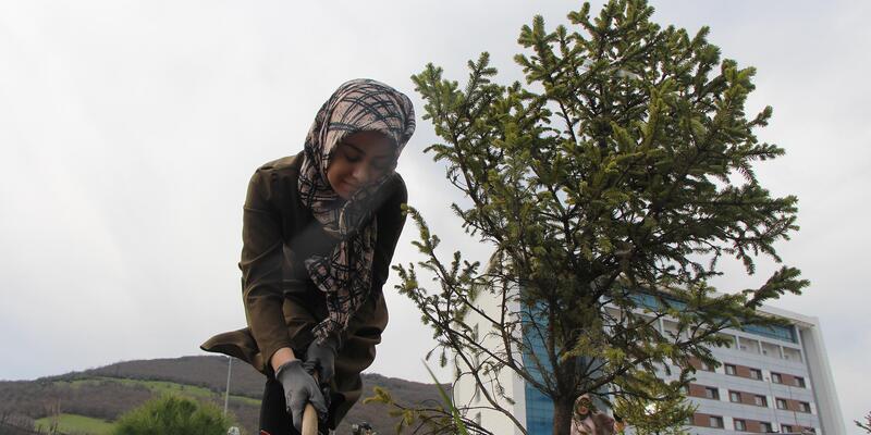 OMÜ'lü öğrenciler Afrin şehitleri için fidan dikti