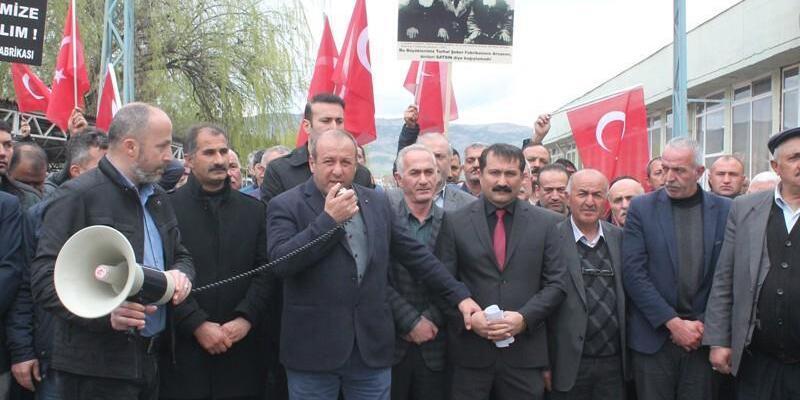 Turhal'da muhtarlardan şeker fabrikasının özelleştirilmesine tepki