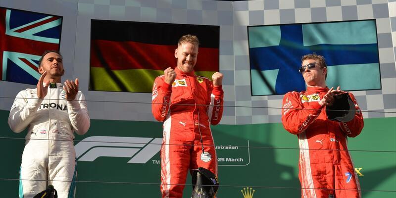 F1'de kazanan Ferrari ve Vettel oldu