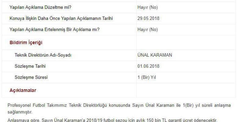 Trabzonspor, Ünal Karaman'a aylık 150 bin TL ödeyecek