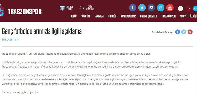Trabzonspor'dan genç oyuncular için 'sağduyu' çağrısı