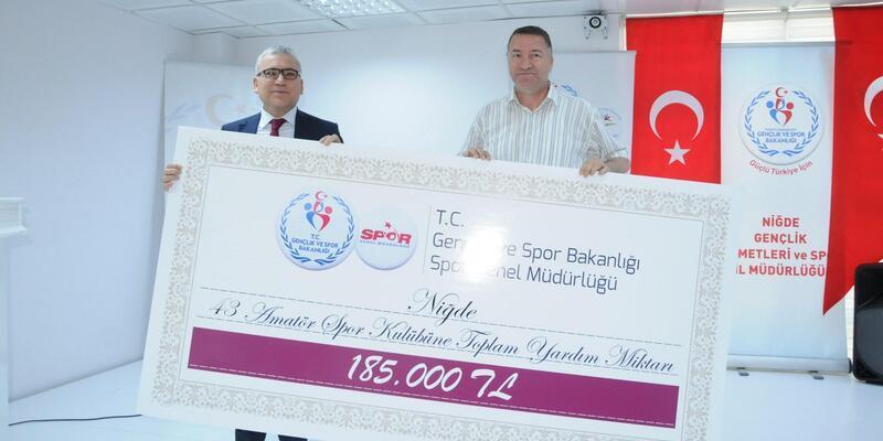 Niğde'de amatör spor kulüplerine 185 bin TL yardım